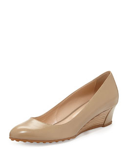 Tod's Zeppa Leather Wedge Pump, Tan