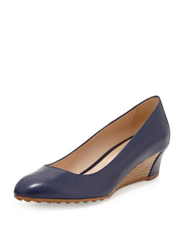 Tod's Zeppa Leather Wedge Pump, Navy