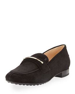 Tod's Suede Gommini Bar Penny Loafer, Black