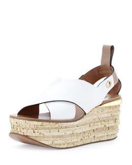 Chloe Crisscross Cork Wedge Sandal