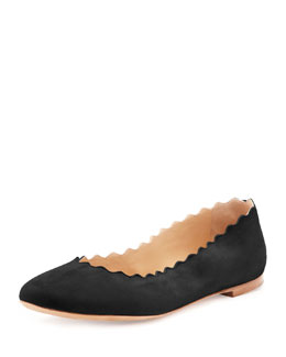 Chloe Scalloped Suede Ballerina Flat, Black