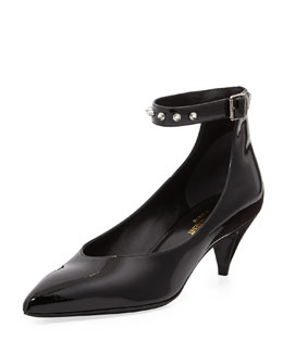 Saint Laurent Studded-Ankle-Strap Pump