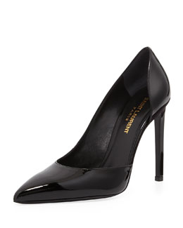 Saint Laurent Paris Half-d'Orsay Patent Pump