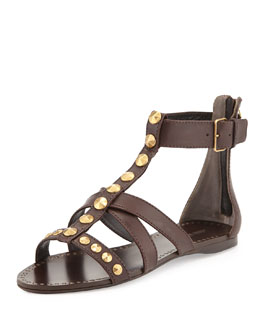 Miu Miu Studded Flat Gladiator Sandal, Dark Brown