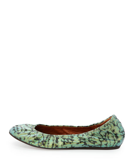 Coated Brocade Ballerina Flat
