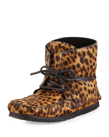 Flavie Leopard-Print Calf Hair Moccasin Boot