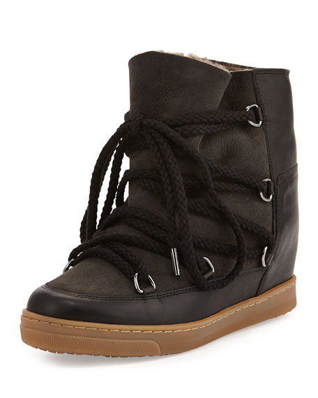 gold christian louboutin shoes - Isabel Marant Nowles Fur-Lined Hidden Wedge Snow Boot, Black