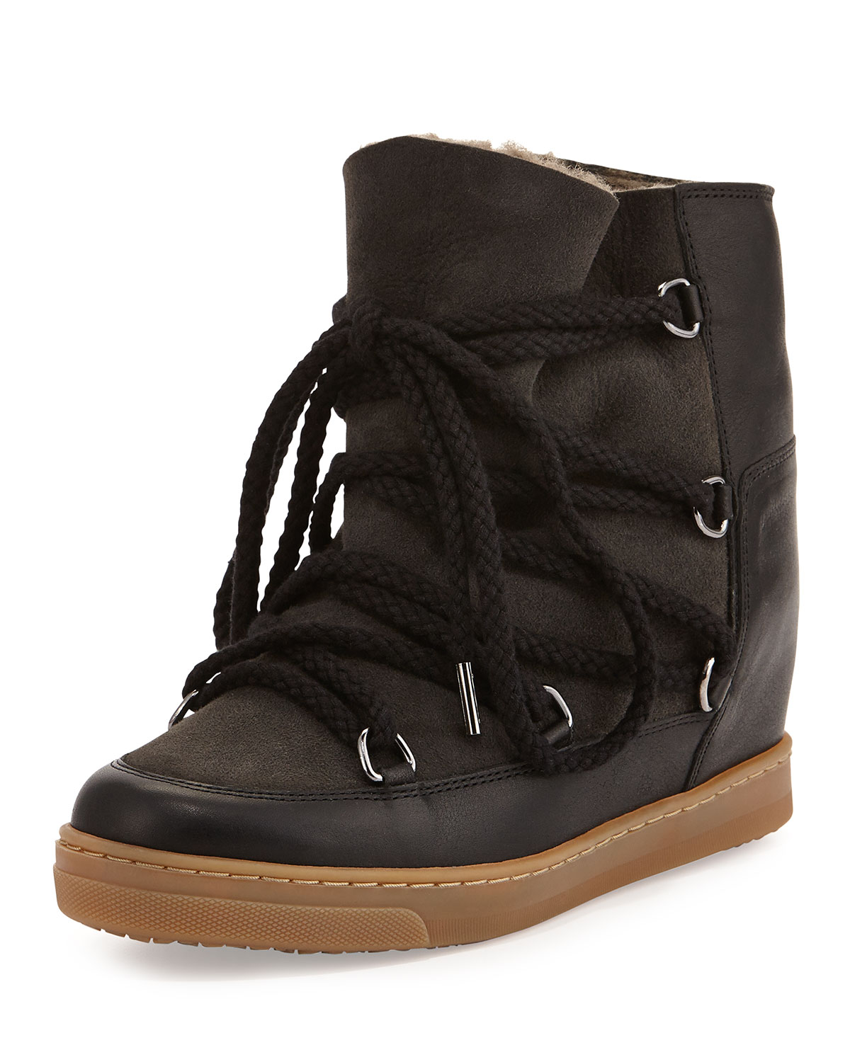 big discount sale enjoy clearance price reasonably priced Isabel Marant Nowles Fur-Lined Hidden Wedge Snow Boot, Black