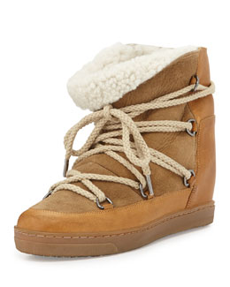 Isabel Marant Nowles Shearling-Lined Lace-Up Bootie