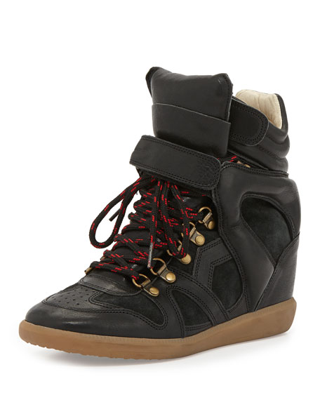 Buck Leather Wedge Sneaker
