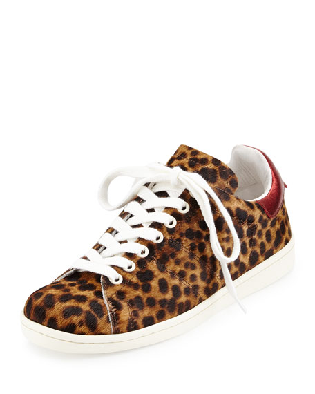 Bart Leopard-Print Calf Hair Low-Top Sneaker