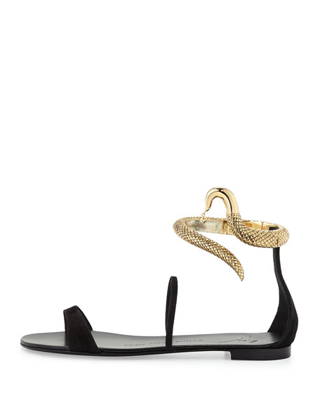 Snake-Cuff Flat Sandal