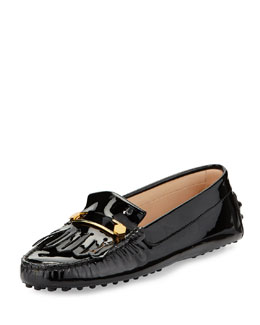 Tod's Patent Leather Kiltie & Pin Driver, Black