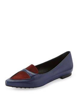 Tod's Two-Tone Leather Skimmer Flat