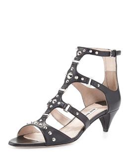 Miu Miu Studded T-Strap Kitten-Heel Sandal