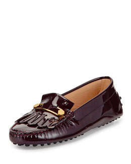 Tod's Patent Leather Kiltie & Pin Driver, Burgundy