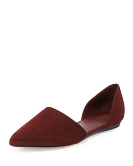 Nina Suede Pointy-Toe d'Orsay Skimmer, Burgundy
