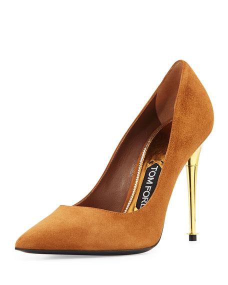 Suede Golden-Heel Pointed Pump, Tan