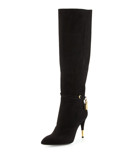 Padlock Ankle-Wrap Leather Knee Boot, Black