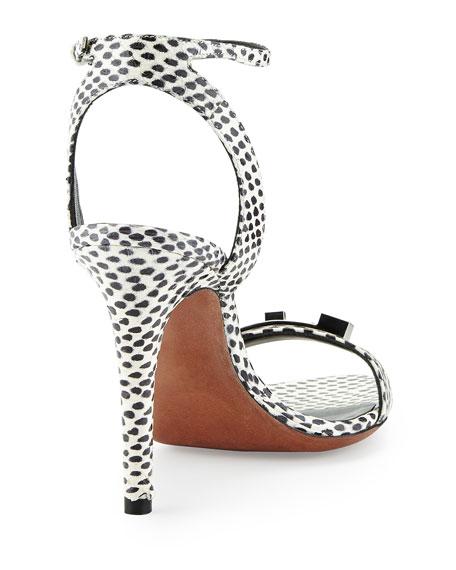 Snakeskin Ankle-Strap Sandal, Black/White