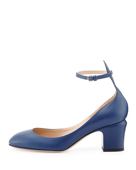 Tango Leather Ankle-Strap Pump, Indigo