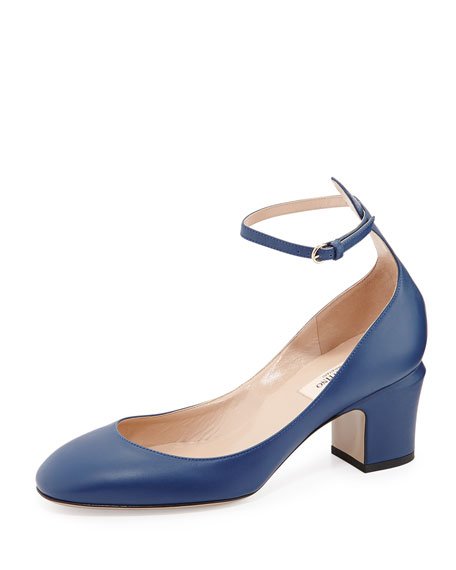54067c95f3f Valentino Tango Leather Ankle-Strap Pump, Indigo