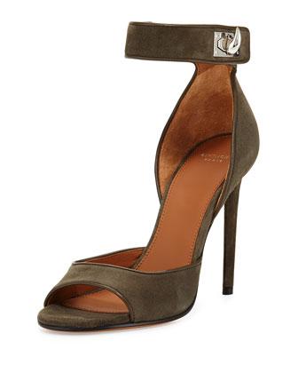 Givenchy Suede Shark-Lock Sandal, Olive
