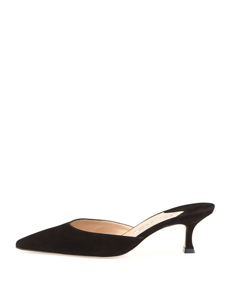 Carolyne Suede Pointed-Toe Mule, Black