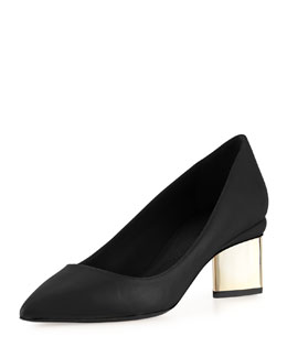 Leather Metallic Block-Heel Pump, Black