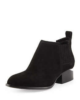 Alexander Wang Gabi Suede Lift-Heel Ankle Boot, Black