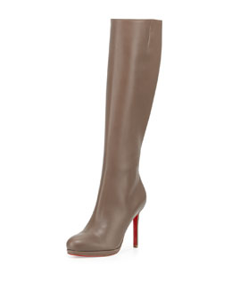 Botalili Leather Red-Sole Knee Boot, Gray