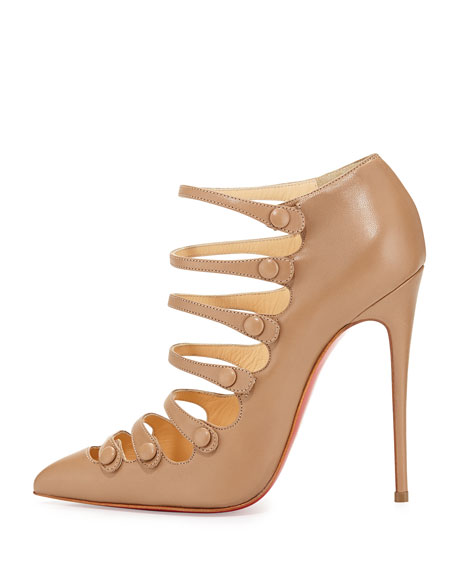 Viennana Strappy Leather Red Sole Bootie, Beige