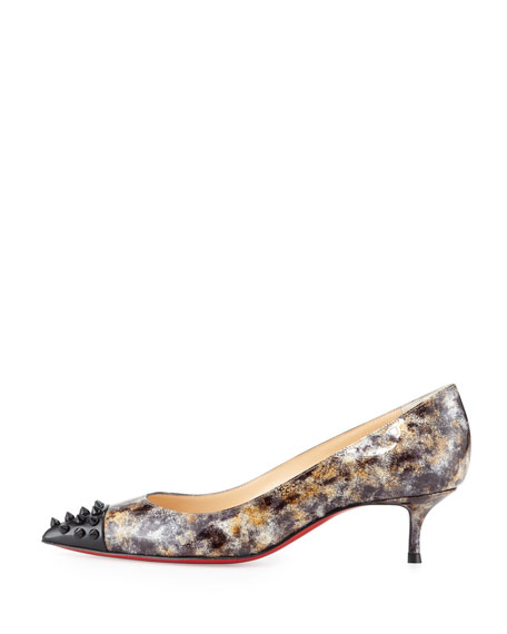 save off 8ef0d dcaea Geo Printed Spike Red Sole Pump Black
