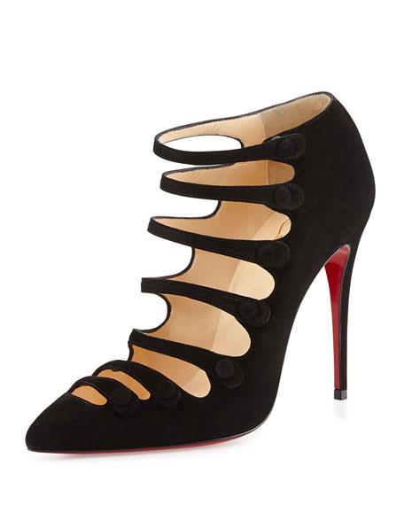on sale b16d8 f5695 Viennana Suede Red Sole Bootie Black