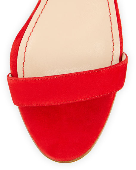 Chaos Suede Ankle-Strap Sandal, Red