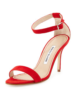 Manolo Blahnik Chaos Suede Ankle-Strap Sandal, Red