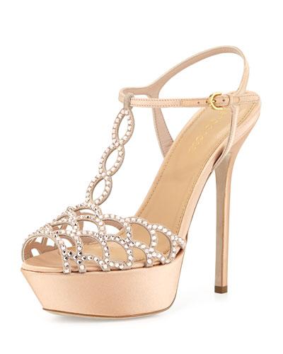 Scalloped Crystal T-Strap Platform Sandal, Beige