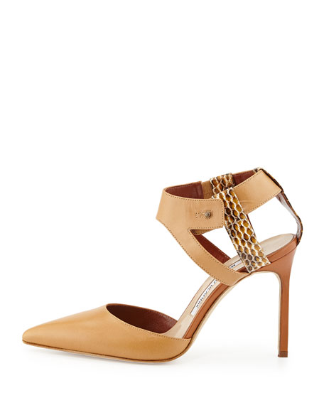 Colter Combo Ankle-Harness Pump, Beige