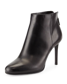 Leather Almond-Toe Ankle Boot, Black