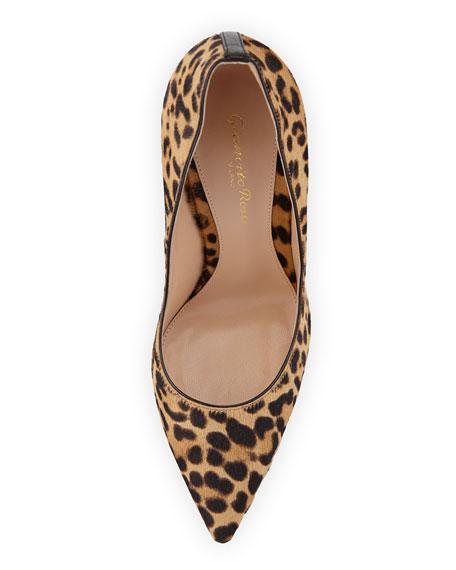 Leopard-Print Calf Hair Pump, Brown