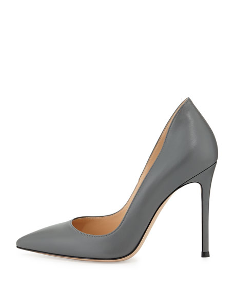 Leather Pointed-Toe Pump, Gray