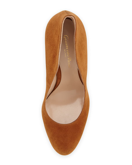 Round-Toe Suede Flare Pump, Tan