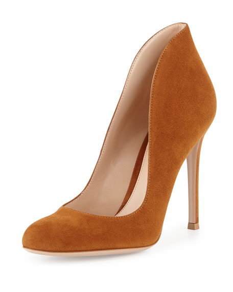 lowest price really sale online Gianvito Rossi Rounded-Toe Suede Pumps Ghq5Iu