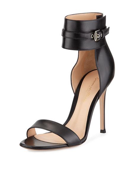 Leather Ankle-Wrap Sandal, Black