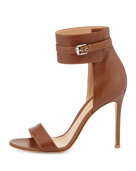 Leather Ankle-Wrap Sandal, Tan