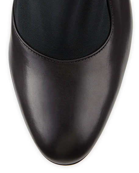 Leather Stretch-Panel Bootie, Bootie