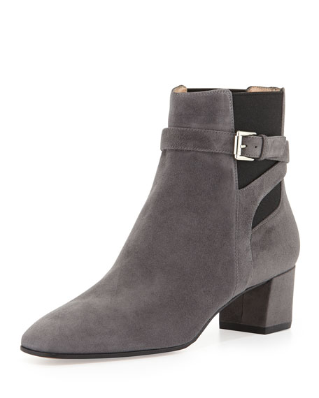 Suede Buckled Stretch-Side Bootie