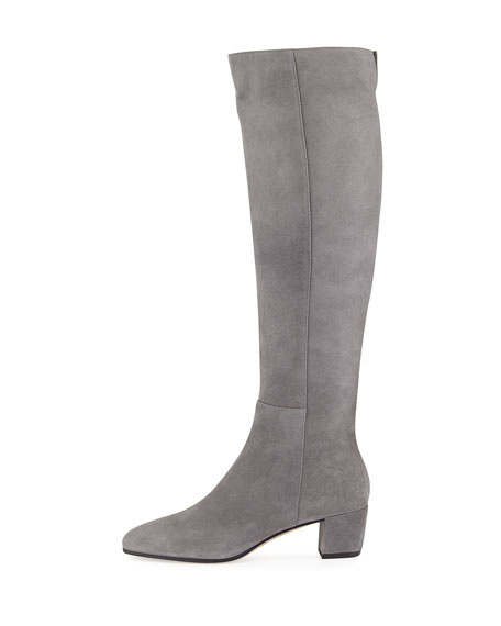 Suede Block-Heel Knee Boot