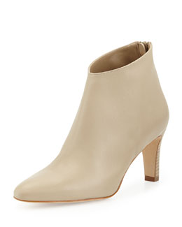 Manolo Blahnik Macas Napa Leather Ankle Boot, Taupe