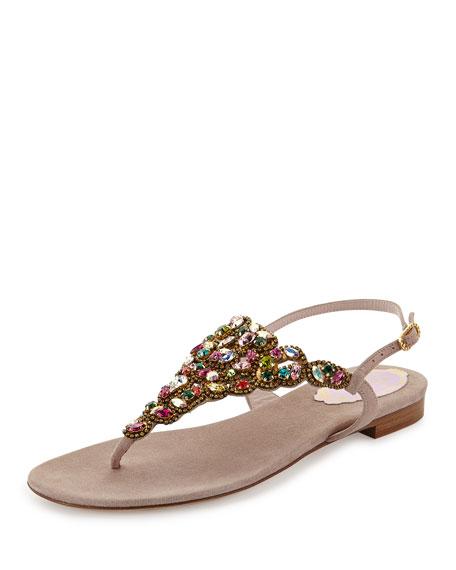Multicolor Crystal Thong Sandal